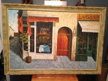 """Bistro"" Oil Painting Signed ""Tyler"" in Cherry Point, North Carolina"